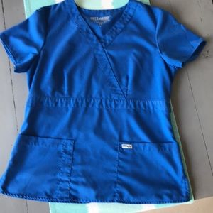 Grey's Anatomy, blue scrub top. Size Large.